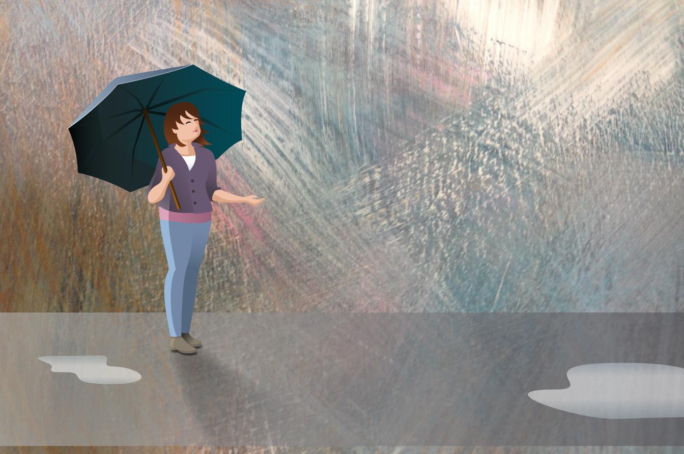 Vrouw met paraplu. Dradigitally Art (achtergrond in acryl)